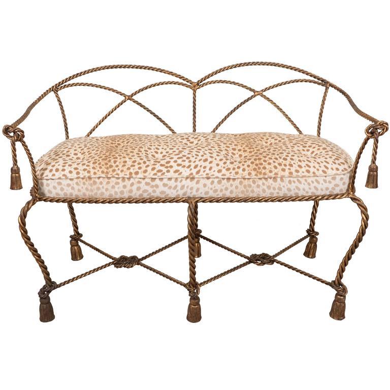 Mid-Century Italian Gilt Rope and Tassel Settee with Leopard Print Velvet Seat For Sale