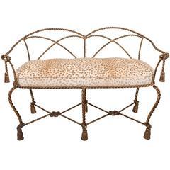 Mid-Century Italian Gilt Rope and Tassel Settee with Leopard Print Velvet Seat