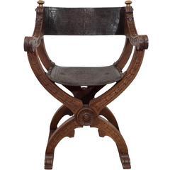 Mid-Century Italian Savonarola Folding Armchair in Carved Walnut and Leather