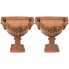 Pair of Italian Neoclassical Style Terracotta Planters