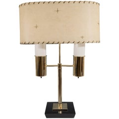 Rare Dual Light Table Lamp with Milk Glass Adornments & Parchment Shade