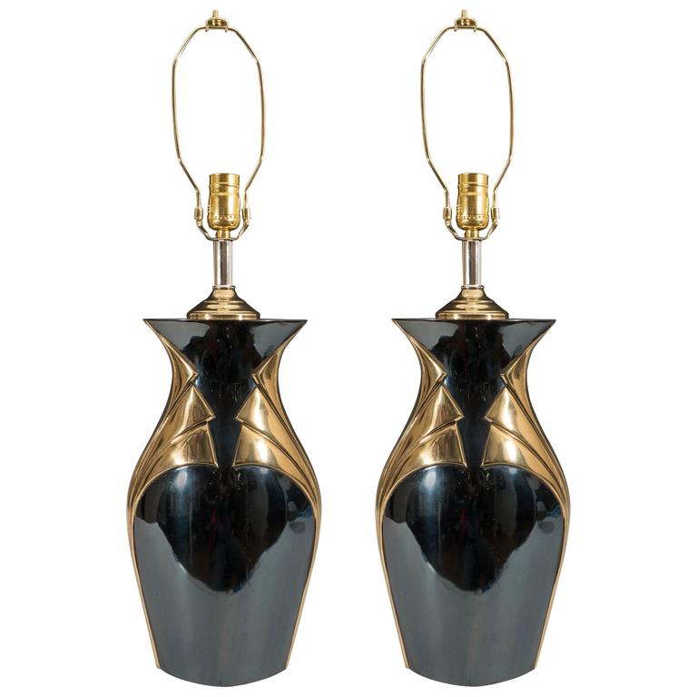 Pair of Art Deco Black Lamps with Fan Motif