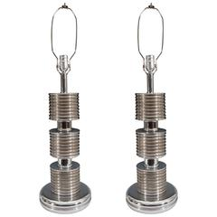 Pair of Art Deco Electroplate Silver Lamps