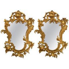 Antique, 19th Century, Pair of Bronze Gilt Louis XV Style Mirrors