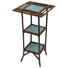 Outstanding 19th Century Bamboo Tile Inset Three-Tiered Stand