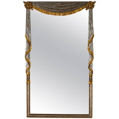 Drape Mirror with Jabot Sides in Gold and Silver