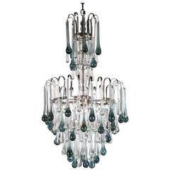 Murano Glass Chandelier with Blue Drops