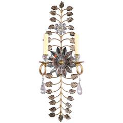 French Gilt Sconces with Mirrored Crystal Sunburst