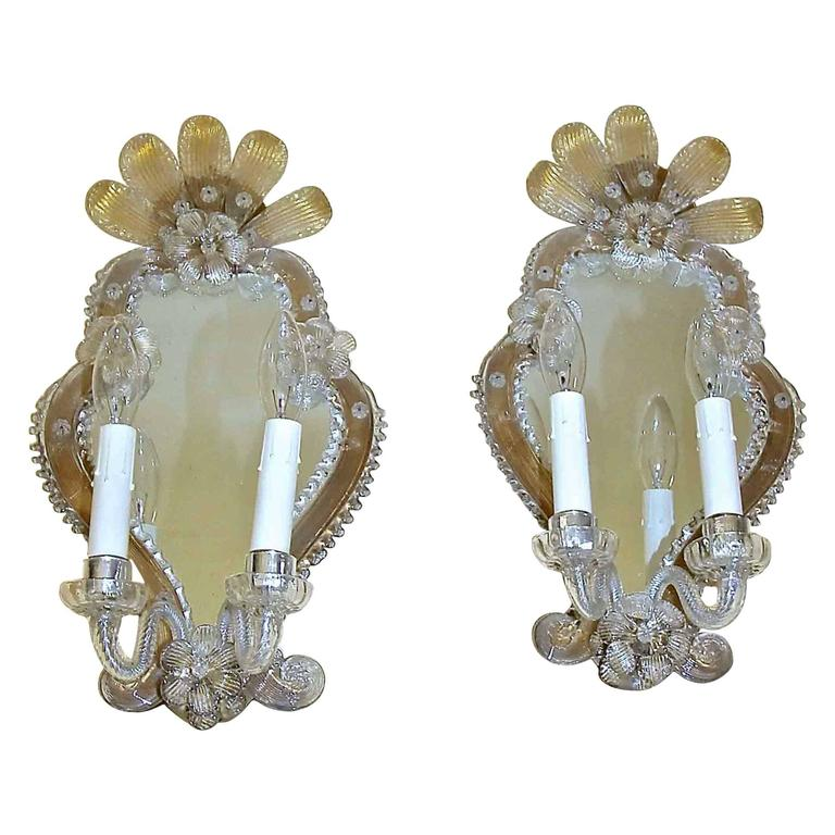 Venetian Wall Sconces : Pair of Venetian Italian Mirrored Wall Sconces For Sale at 1stdibs
