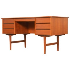 Danish Modern Teak Desk W/ Bookshelf Back