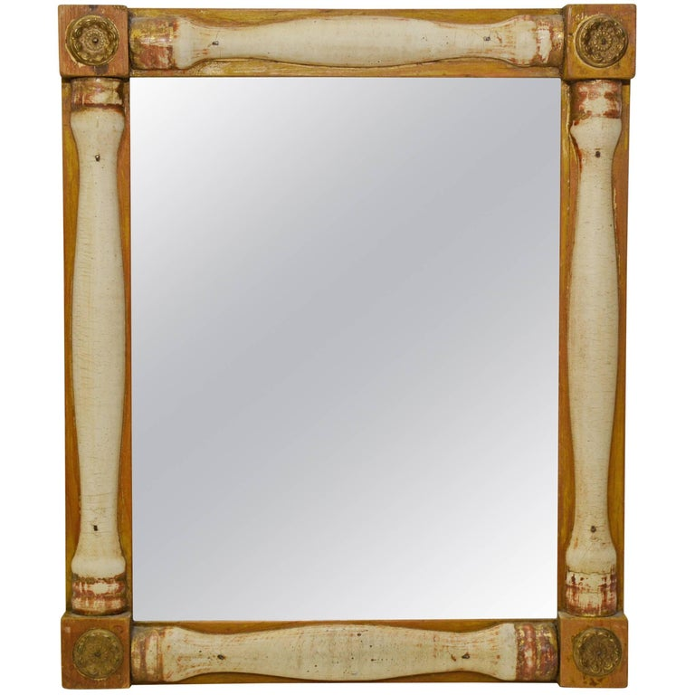 Small Antique Yellow Ochre And White Mirror For Sale At