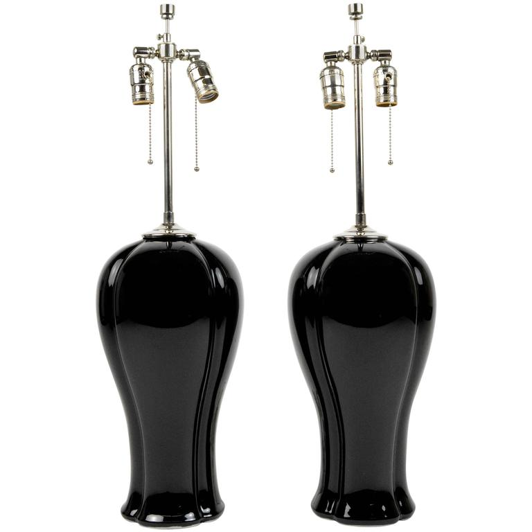 Pair of Black Glazed Ceramic Lamps