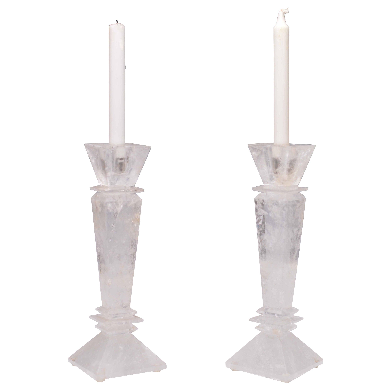 Pair of Modern Rock Crystal Quartz Candleholders