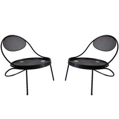 Pair French Mid-Century Modern Iron 'Copacabana' Chairs, by Mathieu Matégot 1955