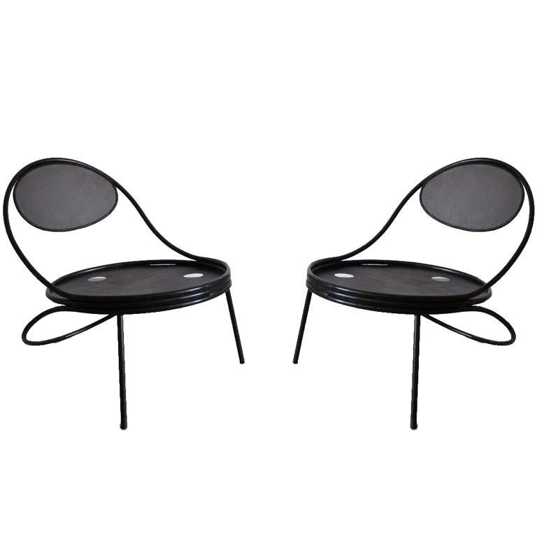Pair French Mid-Century Modern Iron 'Copacabana' Chairs, by Mathieu Matégot 1955 For Sale