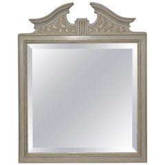 Vintage Federal Style Square Mirror with Broken Arch Pediment