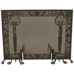 American Arts & Crafts Movement Fire Screen and Andirons