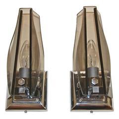 Italian Glass Fontana Arte Style Sconces
