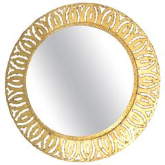 1970s Round Gold Gilt Metal Cut Out Frame Mirror, France