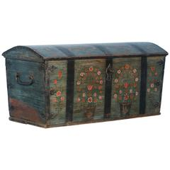 Antique Dome Top Trunk with Original Blue Paint from Sweden, Dated 1840