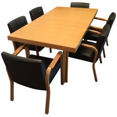 Alvar Aalto Dining Table and Six Armchairs Produced by Artek