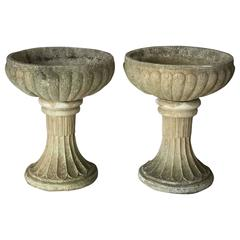 Pair of Large English Garden Stone Urns on Pedestals (Priced Individually)