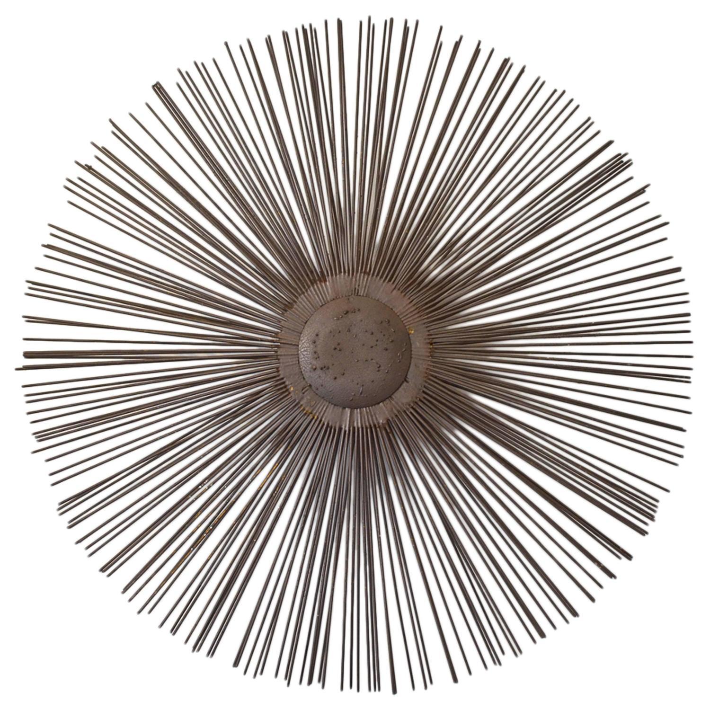 Brutalist metal sunburst wall sculpture at 1stdibs for Sunburst wall art