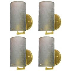 Italian Murano Battuto Gray Cylinder Glass Sconces by Fabio Bergomi