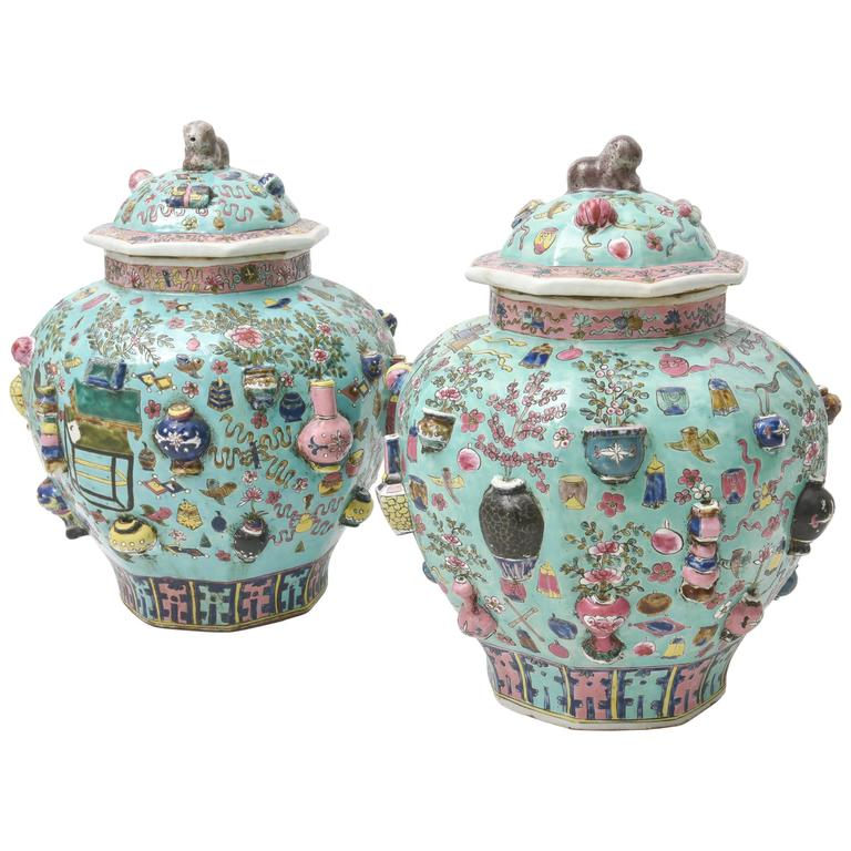 Vintage Pair of Chinese Porcelain Covered Vases