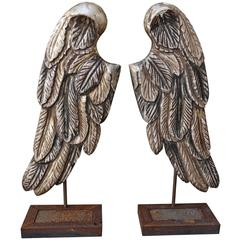 Pair of Silvered Carved Wings on Metal Bases