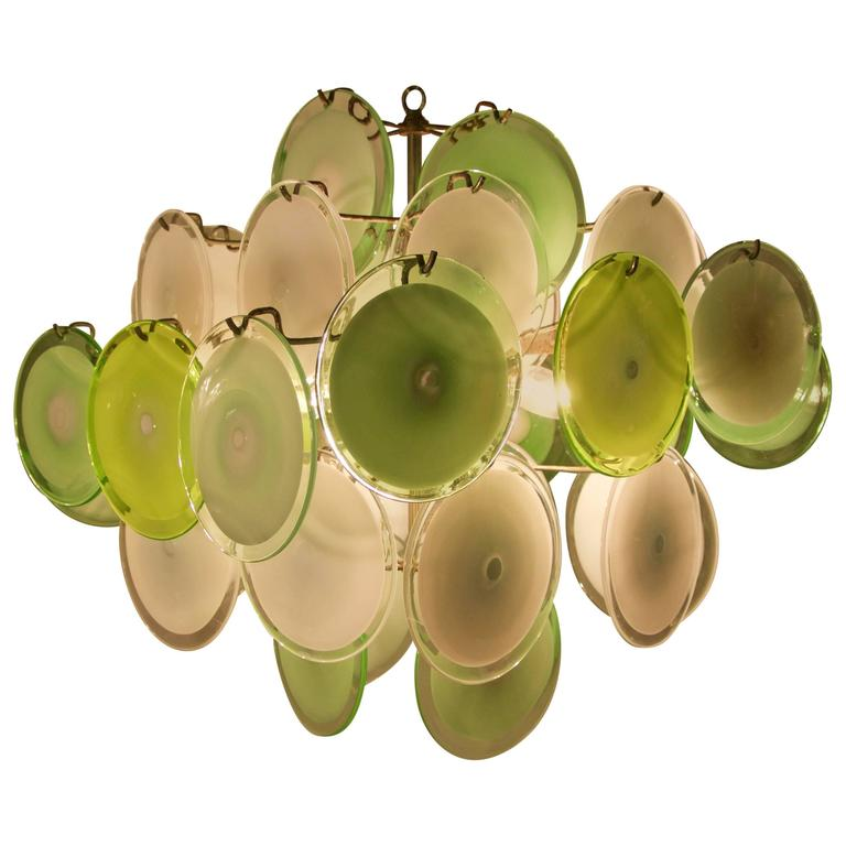 Murano Disc Chandelier by Vistosi 1970s For Sale