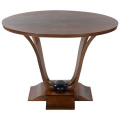 French Art Deco Walnut Oval Side Table, 1930