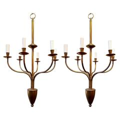 Fantastic Pair of Six-Arm Brass Chandeliers