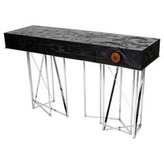 Mondrian Meets Gaudi Mahogany and Stainless Steel Console