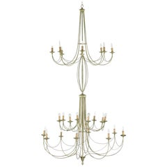 Important and Romantic Chandelier, 1955 Rome, Italy, Stairwell Lamp - 285cm