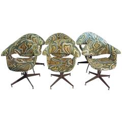 Set of Six George Nelson Style Shell/Swag Chairs from 1969 with Original Fabric