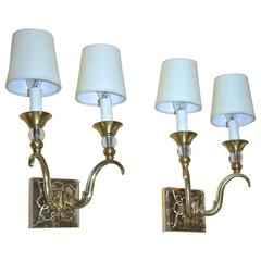 Pair of French Bronze and Crystal Jules Leleu Sconces
