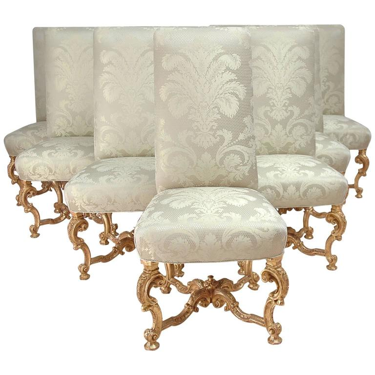 Set of Ten Venetian Dining Chairs in Carved and Gilded Wood with Upholstery