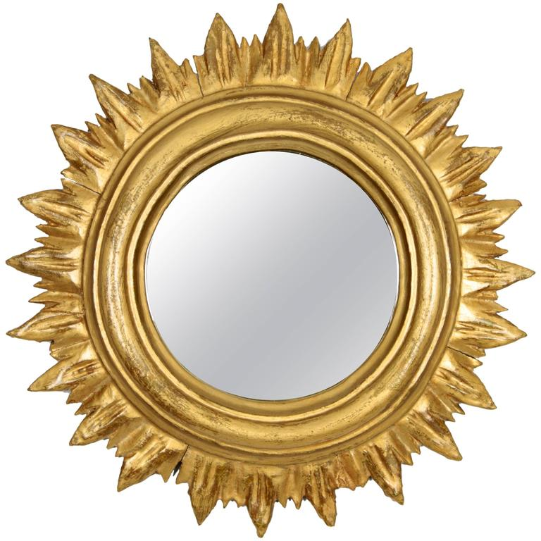 Small spanish giltwood sunburst mirror in regency style for Small wall mirrors for sale