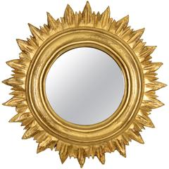 Spanish 1940s Small Giltwood Sunburst Mirror in Regency Style
