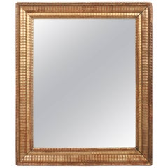 Gilt Napoleon III Mirror Trimmed with Small Flame Stitch Pattern