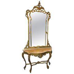 French Console with Mirror