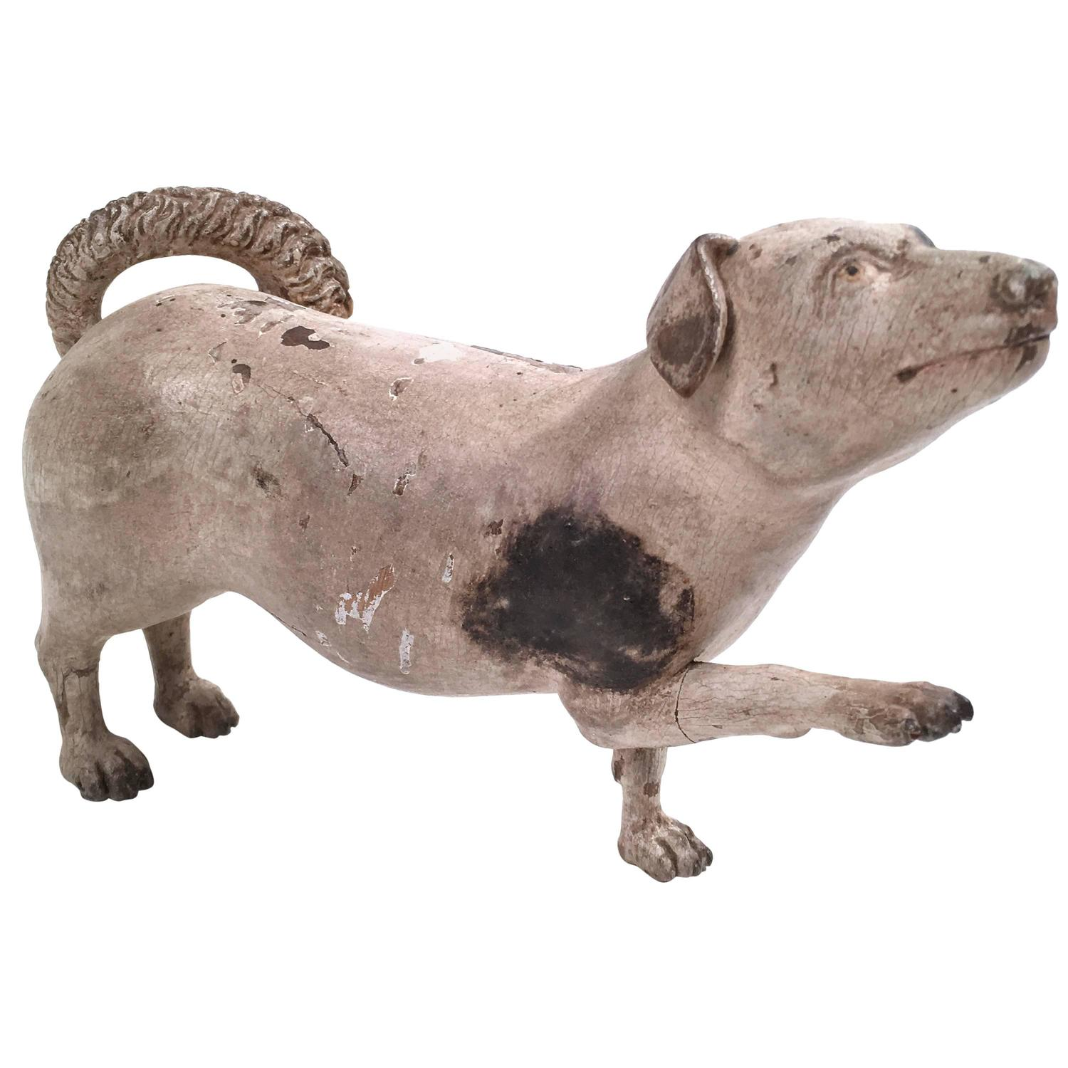 Charming th century carved and painted wood dog