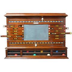 Mahogany Wall-Mounted Billiards, Snooker Scoring Cabinet, circa 1870