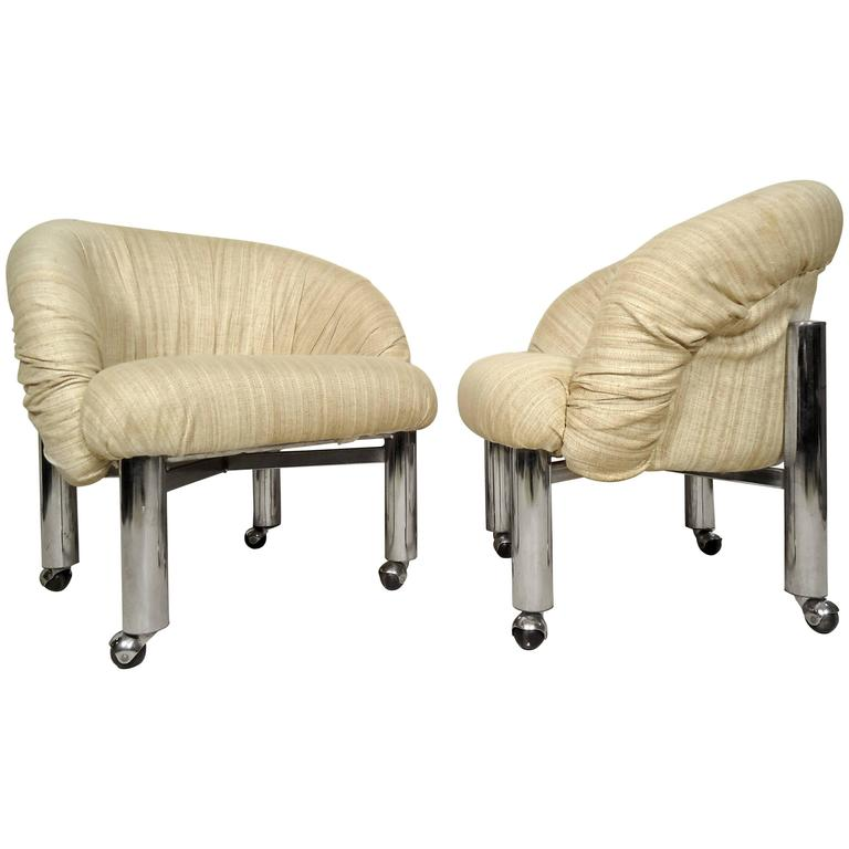 Pair Of Mid-Century Round Back Chairs For Sale At 1stdibs