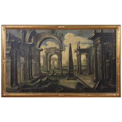 Italian Framed Oil on Canvas Capriccio Painting