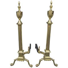 Pair of Late 19th Century Brass Urn Form Andirons with Logstops