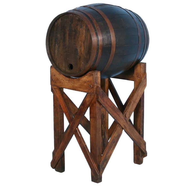 Antique Oak Wine Barrel On Stand From France Circa 1900 At 1stdibs