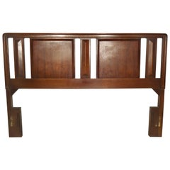 Mid-Century Sculpted Walnut Headboard