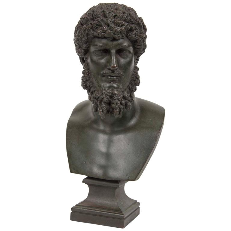 19th Century Grand Tour Patinated Bronze Bust of Lucius Verus For Sale